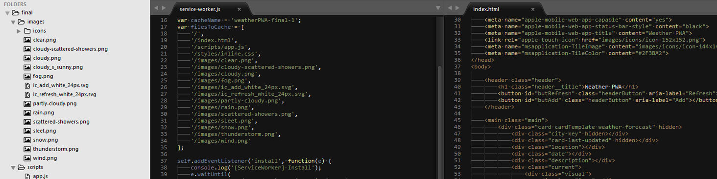 Example code in sublime text