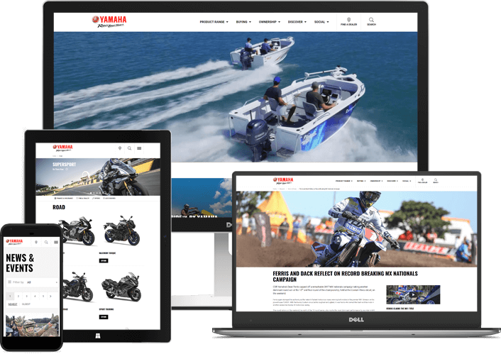 Yamaha Motor Website shown on multiple devices