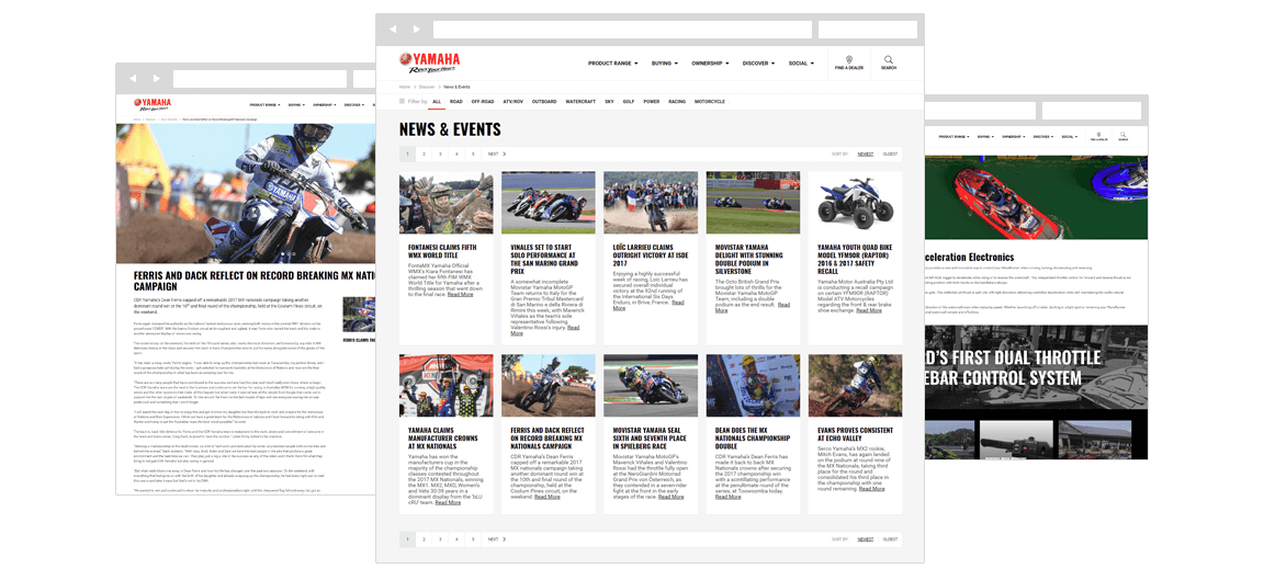 Screenshots of Yamaha Motor's news and events pages